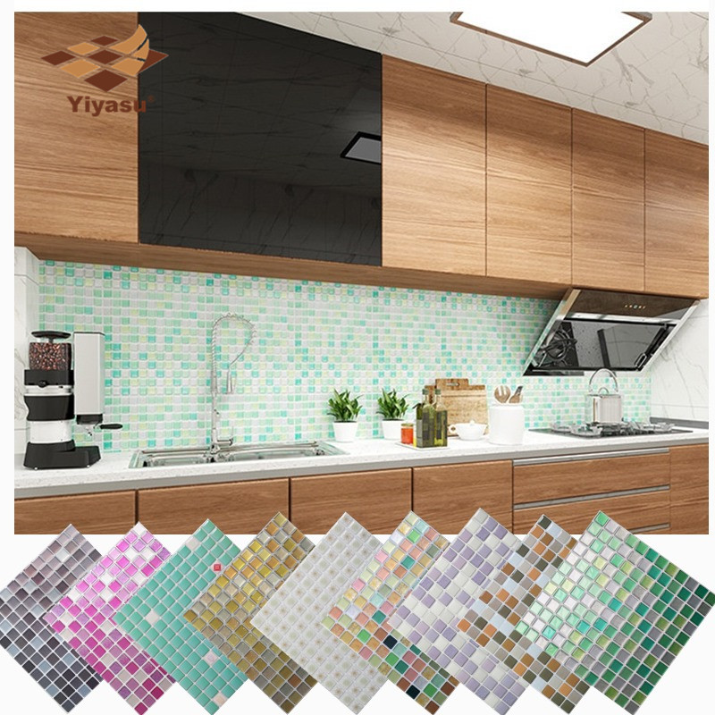 Mosaic Wall Tile Peel and Stick Self adhesive Backsplash DIY Kitchen Bathroom Home Wall Sticker Vinyl 3D(China)