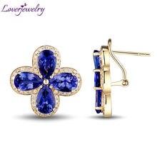 Loverjewelry Solid 14kt Yellow Gold Diamond Pear 7x9mm Tanzanite Wedding Stud Earrings for Women WE058