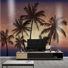 Custom wallpaper HD hand-painted sunset coconut tree sea style beautiful background wall decoration waterproof material
