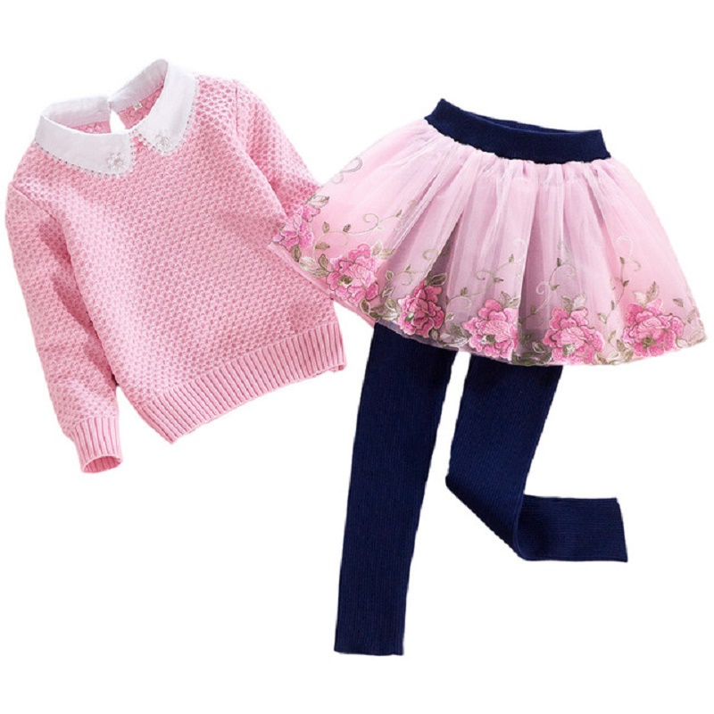 Baby Knit Sweater Kids Clothing Sets 2pcs Girls Sweaters Long Sleeve Children Top + Stereo Floral Lace Mesh Dress Pants Clothes layered sleeve floral top