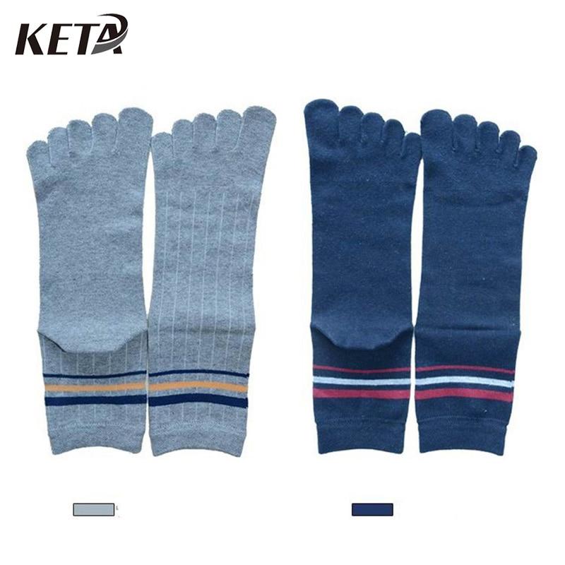KETA Fashion Crew Cotton Toe Socks Men New Brand Business Dress Socks Male Casual In Tube Five Finger Socks (5Pairs/lot)