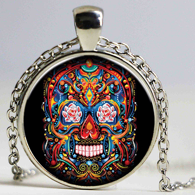 Vintage Necklace Steampunk Style Candy Color Tattoo Skull Flower