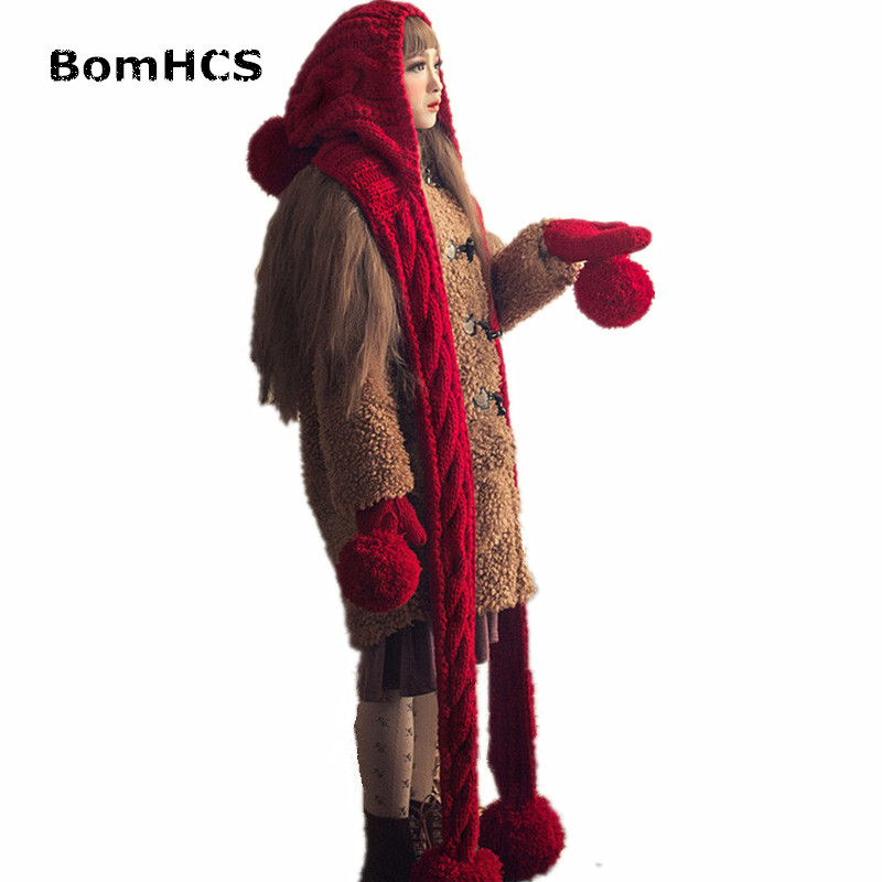 BomHCS Fashion Cute Women Winter Warm Thick Handmade Beanie Scarf & Gloves Knitted Hat Caps