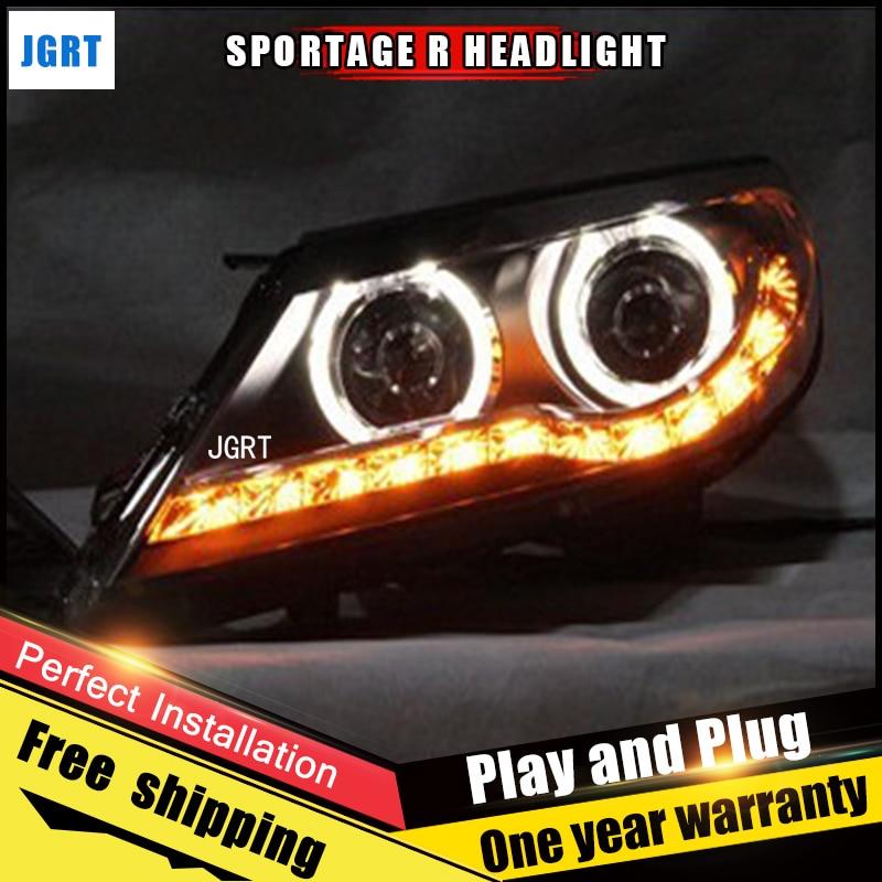 Car Style LED headlights for Kia Sportage R 2014-2015 for Sportage R head lamp LED Lens Double Beam H7 HID Xenon bi xenon lens hireno headlamp for 2016 hyundai elantra headlight assembly led drl angel lens double beam hid xenon 2pcs
