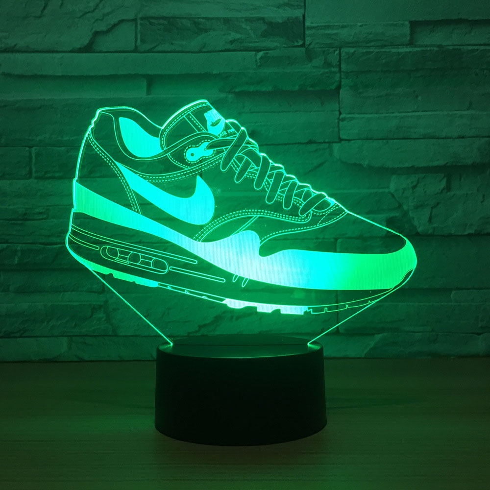Creative Usb 3D Led Touch Switch Shoes Shape Atmosphere Night Light For Sports Fans Bedroom Movement Lighting Fixture Desk Lamp in Night Lights from Lights Lighting