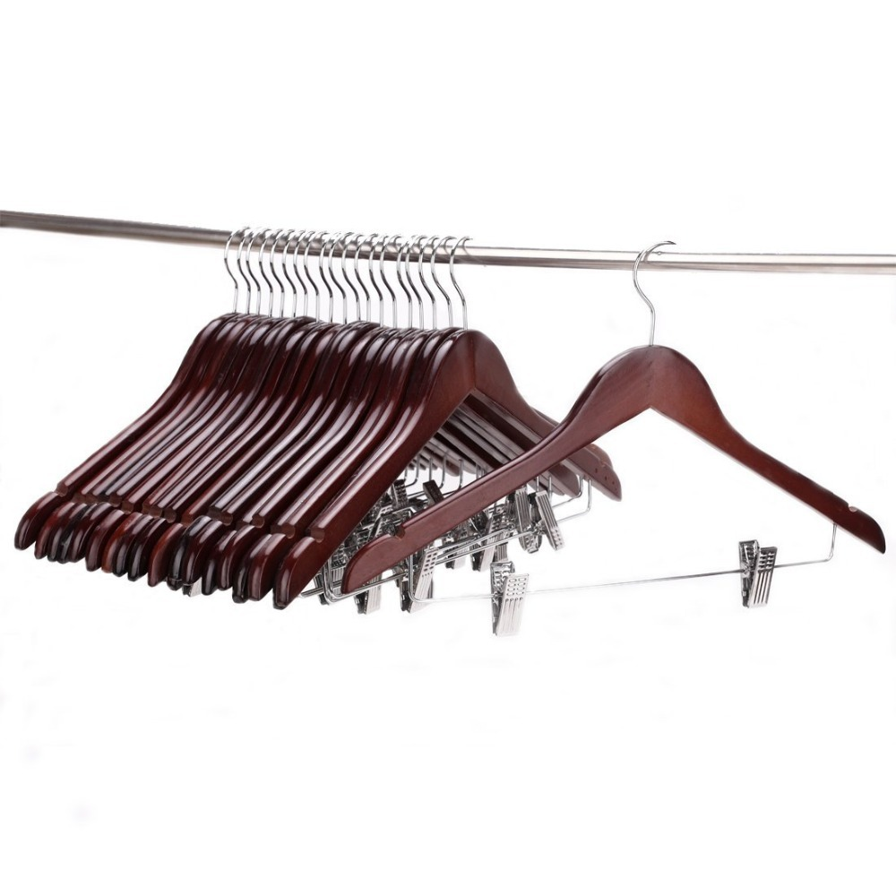 Hangerlink Wooden Pant Hanger with Polished Clips and Hooks Wooden Clothes Hangers Walnut Polished 10 pieces