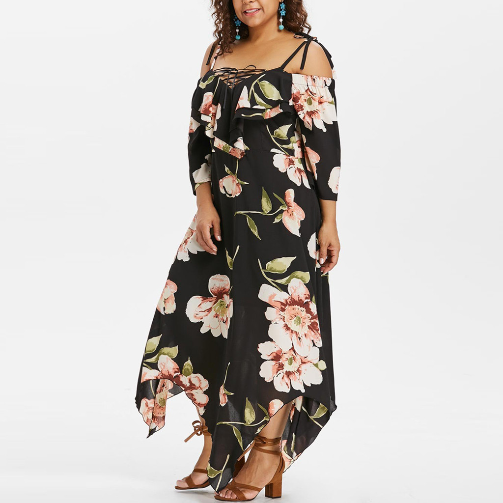 5e76109c292 2019 Summer Plus Size Print Half Dress Fashion Women Off Shoulder Lace Up  Maxi Flowing Floral Print Ankle Length Dress elbise  C-in Dresses from  Women s ...