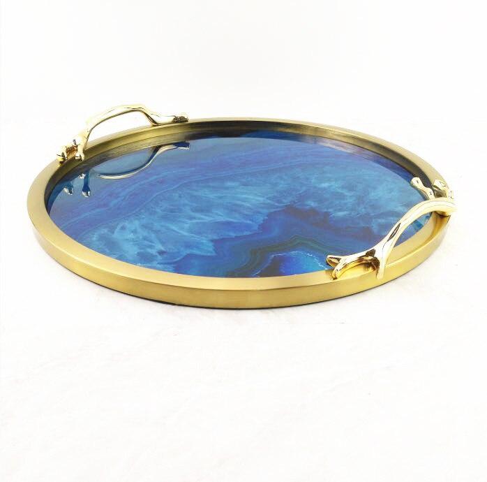 Métal artisanat nordique simple cuivre bleu agate stockage plateau de thé rond modèle chambre maison restaurant décoration plateaux