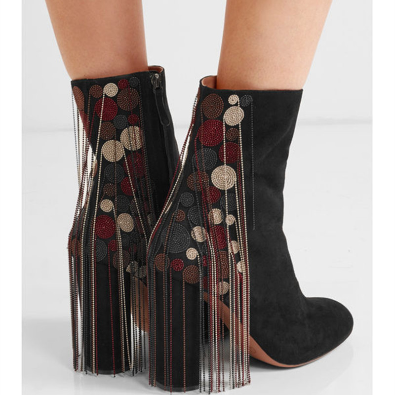 2016 Autumn and Winter Chain Fringed Boots Women Round-toe High Heels Ankle Boots Leather Tassel Boots Bare Boots Female Botas