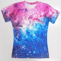 Wholesale Couple T Shirt 3d Digital Galaxy Space Printing Short Sleeve Top Tee