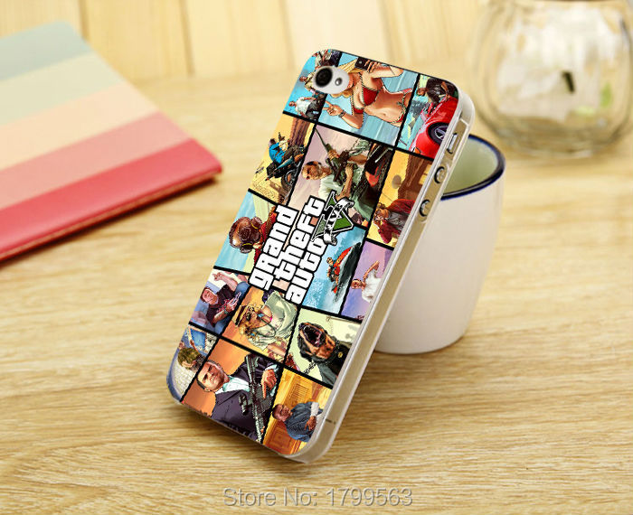 New gta 5 poster grand theft auto Game cover Soft Silicon clear TPU Skin case for iphone 5 5s 4 4S 5c i6 6 6S plus i7 7 plus +