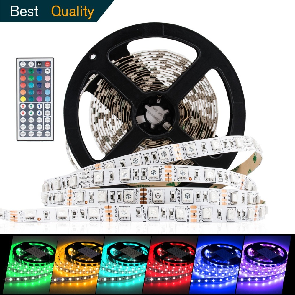 Hot 12V 5M Flexible 300pcs 5050 SMD RGB LED Strip Light / 44 Key Remoter Controller / 3A Power Adapter Tape lamp Home Decorate