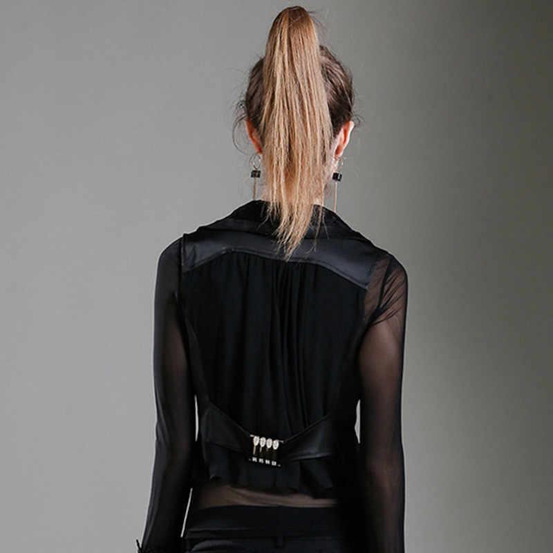 Для женщин жилет пальто 2019 Новые Летние черные сексуальные тонкие элегантные куртки женские короткие топы без рукавов Повседневное жилет куртка R429