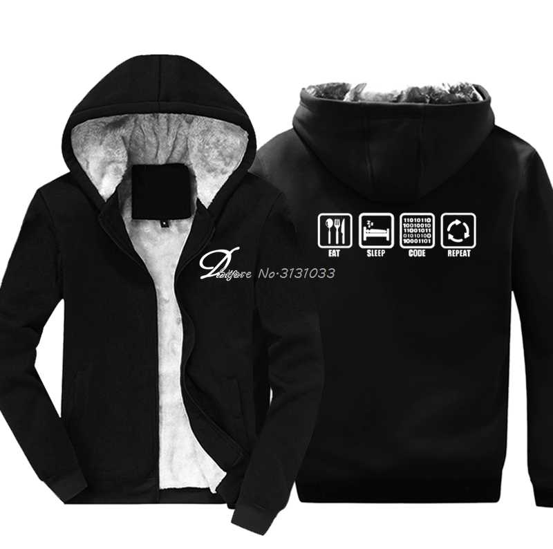 29e97e82e Funny Eat Sleep Code Repeat Gift For Geek Programmer Hacker Sweatshirt  Casual Men Cotton Thicken Hoodie