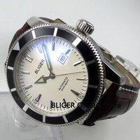 Clásico BLIGER 46mm esfera blanca bisel giratorio negro puntero luminoso marcas de plata movimiento automático reloj de hombre B132|Relojes mecánicos| |  -