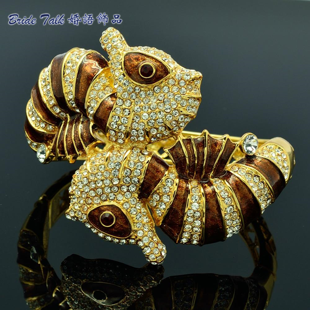 Livraison gratuite de haute qualité cristaux clairs Bracelet de cheval de mer Bracelet avec émail brun