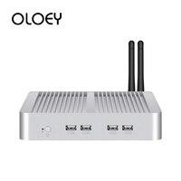 OLOEY Fanless Mini PC Intel Core i7 5500U Windows 10 HTPC 8x USB HDMI VGA 2x Gigabit Ethernet 300M WiFi 4G LTE RS232/RS485