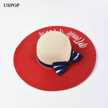 USPOP 2019 New Summer hats for women straw sun letter embroidery  patchwork bow wide brim beach hat