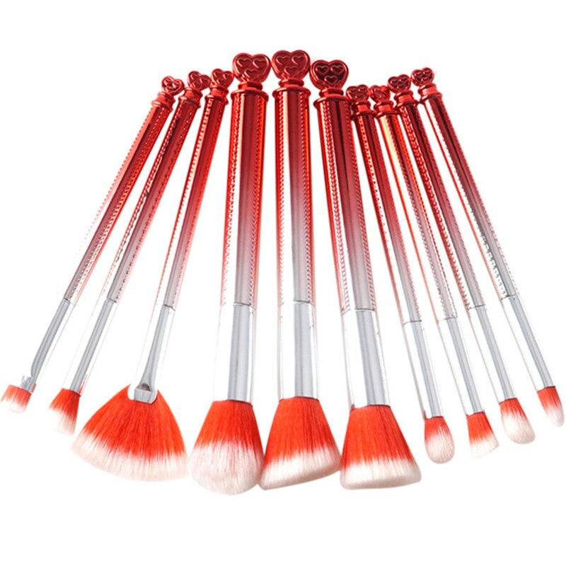 10Pcs Heart Rose Makeup Brushes Kits Beauty Red Cute Make Up Brush Set kabuki Contour Powder Fan Brush Pince Cosmetics 2017 New