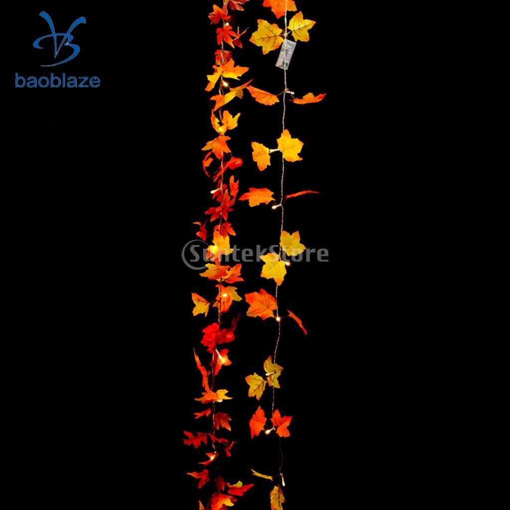 20-LED Maple Leaves String Fairy Light Flexible Decorative Lamp for Christmas Tree Garden Balcony Patio Decor, Battery Powered