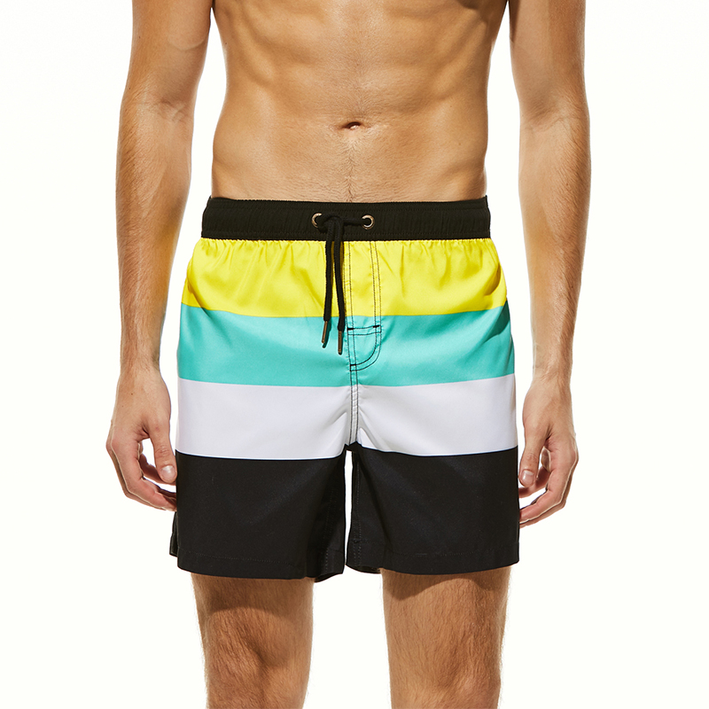 Men's Striped   Board     Shorts   Polyester Beach   Shorts   Men Surfing Swimwear Man Swim Trunks Boardshorts Maldives Beach Pants