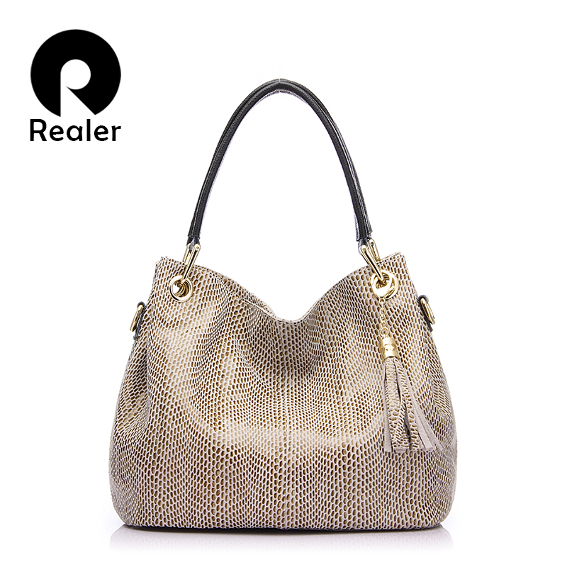 REALER Brand New Genuine Leather Bags Fashion Women Tote Bag with Tassel Female