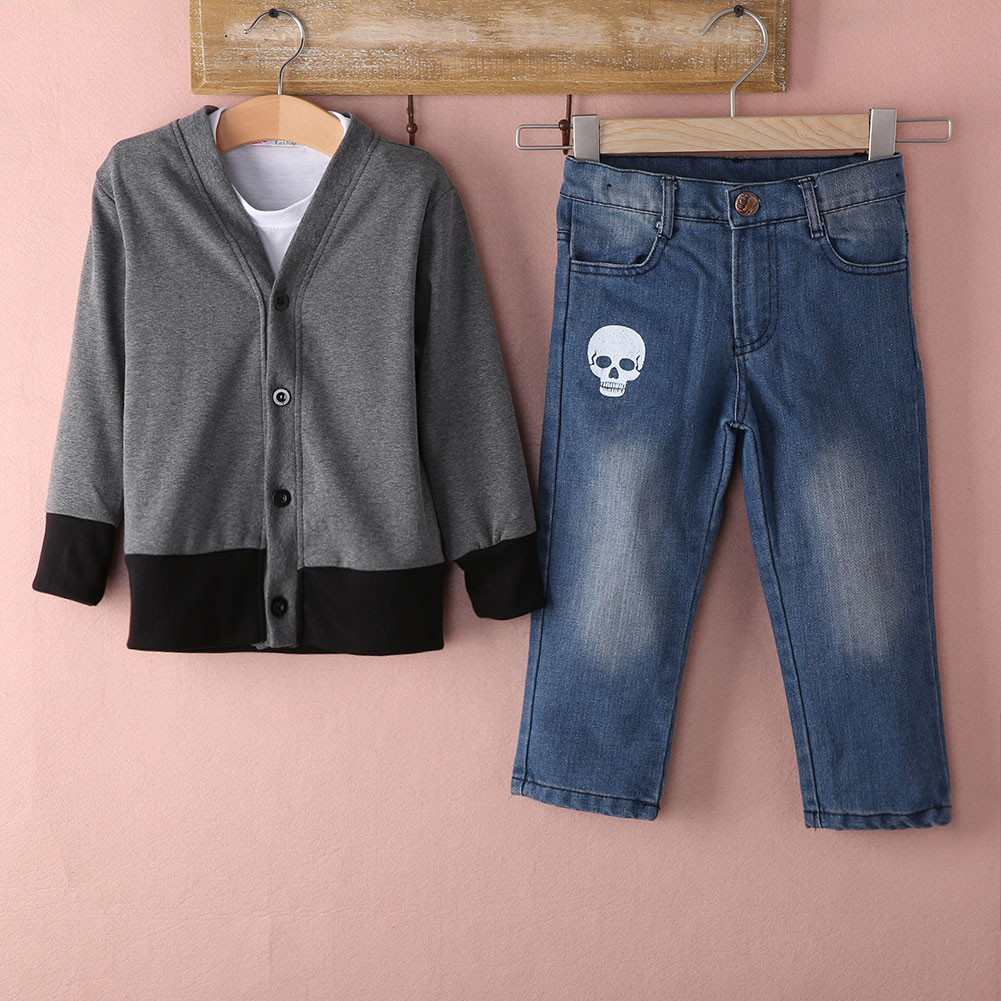 New 2015 autumn winter set Baby Kids Boys Outfits Denim Suit Long sleeve Tops Shirt+Coat+Jeans 3PCS set children set 2015 new arrive super league christmas outfit pajamas for boys kids children suit st 004