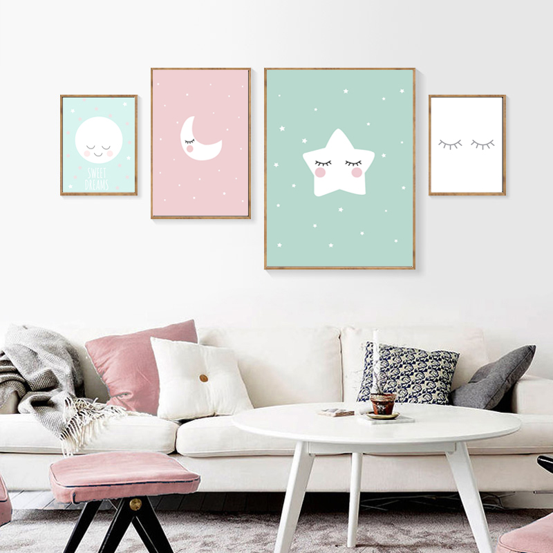 Cartoon Moon Stars Canvas Painting Baby Nursery Wall Art Nordic Posters And Prints Girls Room Wall Prints Kids Room Decor in Painting Calligraphy from Home Garden