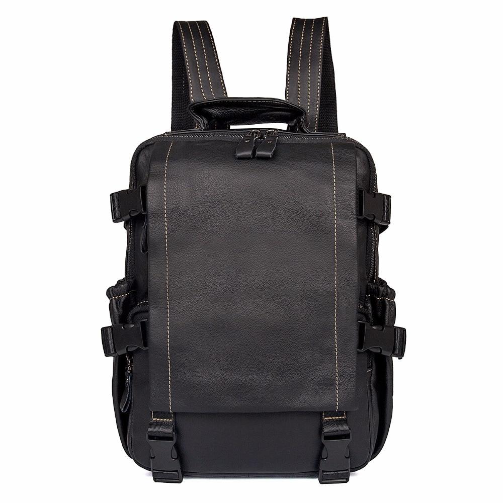 J.M.D Genuine Leather Men's Black Shoulders Unique Design Backpacks Multi Pockets And Functions Laptop Bag For Teenager 2014A цена