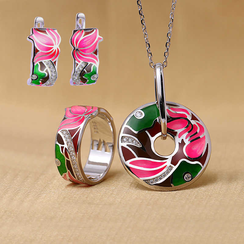 Dropshipping Lotus Flower Enamel Silver Stud Earrings Pendant Ring Jewelry Sets Women 925 Silver Wedding Jewelry Set Wholesale