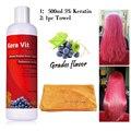 Kera Vit 500 ml Tratamiento de Queratina Brasileña 5% Formalina + toalla de sequía del pelo para el Envío Libre del pelo rizado