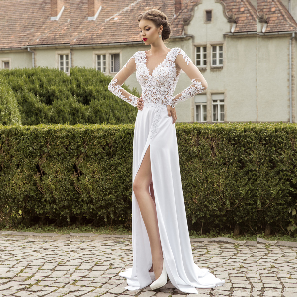 Aliexpress.com  Buy Robe de mariee 2016 Simple White Long Sleeve Wedding Dresses Lace Chiffon Bridal Gowns V Neck Back Side Split Women Noiva from Reliable