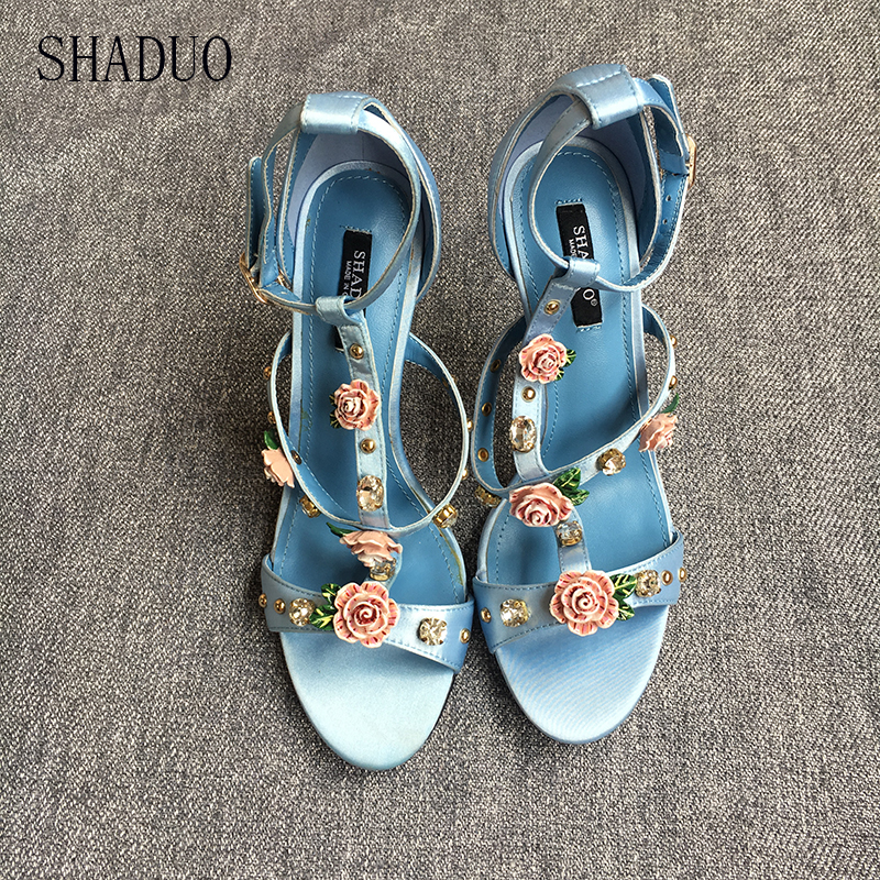 2018 women top quatily Genuine leather Luxury silk high heel sandals Czech crystal rose petals high