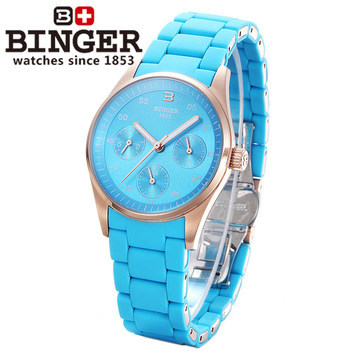 Binger New Arrival Fashion Genuine Steel Skeleton Watches Woman Moon Golden Charm Dress Quartz Watch Blue Wristwatch Drop ship 2017 new arrival night shift nurse pocket watch adult games pendant quartz watches with necklace gift for man woman