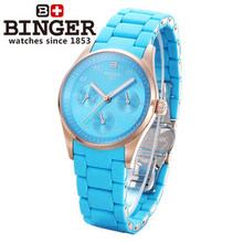 Binger New Arrival Fashion Genuine Steel Skeleton Watches Woman Moon Golden Charm Dress Quartz Watch Blue Wristwatch Drop ship