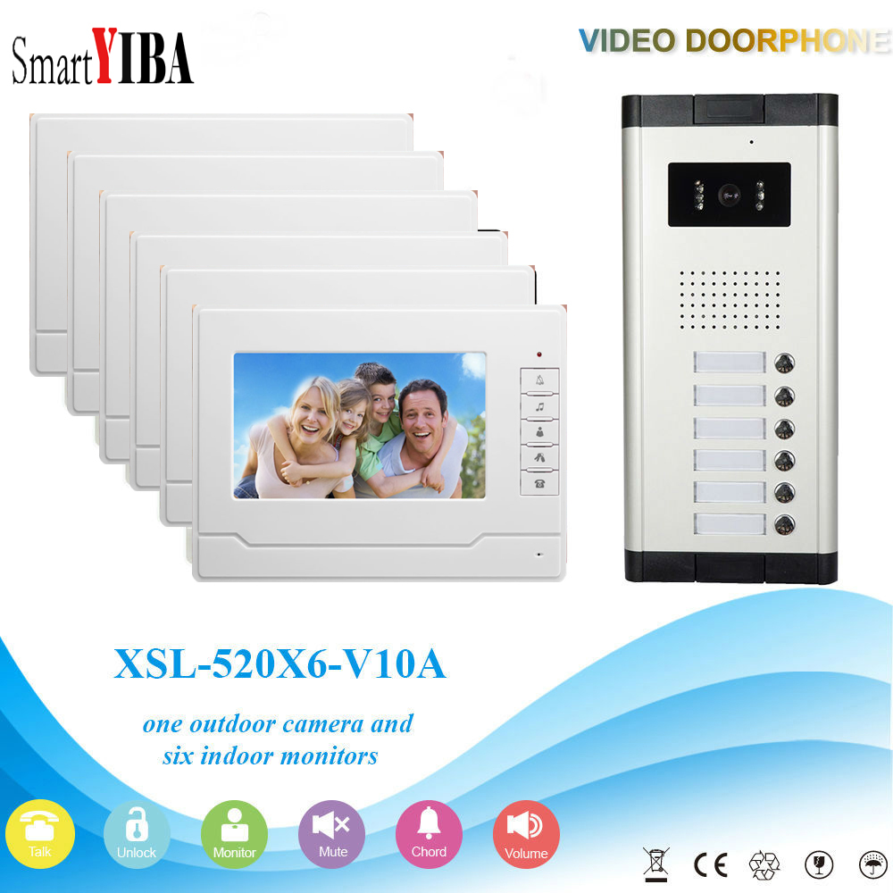 SmartYIBA Video Intercom 7''Inch Wired Color Video Door Phone Video Doorbell Phone Intercom System Kit 6 monitors+1 IR camera highquality 6 ir lamps wired intercom one to one video doorbell 7 inch display video door phone support microphone&speaker d126b