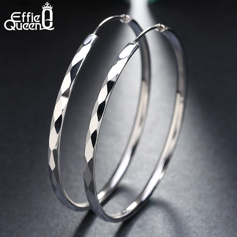 Effie Queen Fashion Big Hoop Earrings For Women 50mm Silver Color Round Circle Earing Girls Jewelry Accessories Party Gift DE09