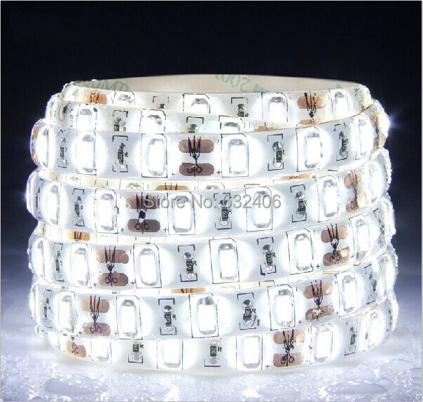 5m/lot Waterproof 5730 LED Strip flexible light 12V ip65 60LED/m,White,warm white,Cold white Super Bright lighting