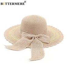 BUTTERMERE Wide Brim Straw Hat Women Beautiful Summer Sun Pink Female Holiday Bow Travel Beach Ladies 2019 11cm
