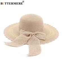 68c3d68d BUTTERMERE Wide Brim Straw Hat Women Beautiful Summer Sun Hat Pink Female  Holiday Bow Travel Beach