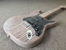 цена Free shipping High Quality Zebra wood body electric guitar /unfinished guitar  one piece wood body and neck Real Photos онлайн в 2017 году