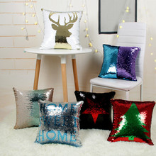 40 40cm Created Mermaid Pillowcase DIY Two Tone Glitter Sequins Throw Pillows Cafe Home Decorative Cushion