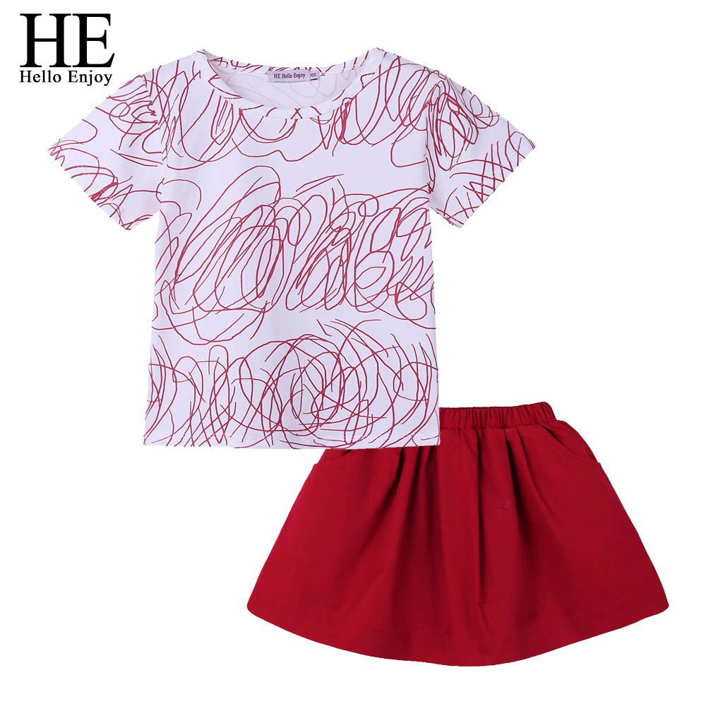 HTB1OaVVhH1YBuNjSszeq6yblFXaW - HE Hello Enjoy Family Clothing Sister And Brother Long Sleeve Print Graffiti T-shirt+Red Skirt&Shorts Family Matching Clothes