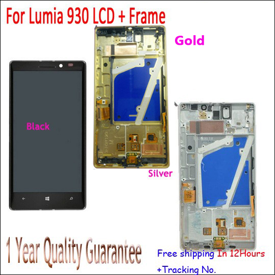LCD Display Touch Digitizer Screen+Back Frame Assembly For Nokia Lumia 930 Black/Silver/Golden Test ok