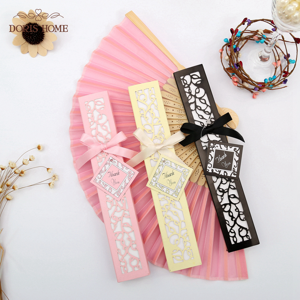 Online Shop 50PCS Satin Silk folding Hand Held Folding Bamboo Fans ...