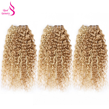 Real Beauty Ombre  Brazilian Water Wave Hair Weave s P27613 Highlight Hair Bundl Remy 40Gram Honey Blond Mixed With 60Grams #27