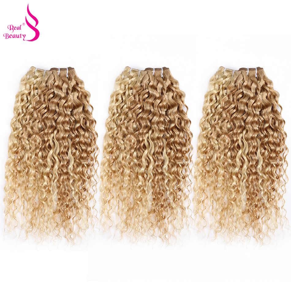 Prawdziwe piękno Ombre brazylijski włosy falowane splot s P27/613 kulminacyjnym do włosów Bundl Remy 40 gramów miód Blond mieszane z 60 gramów #27
