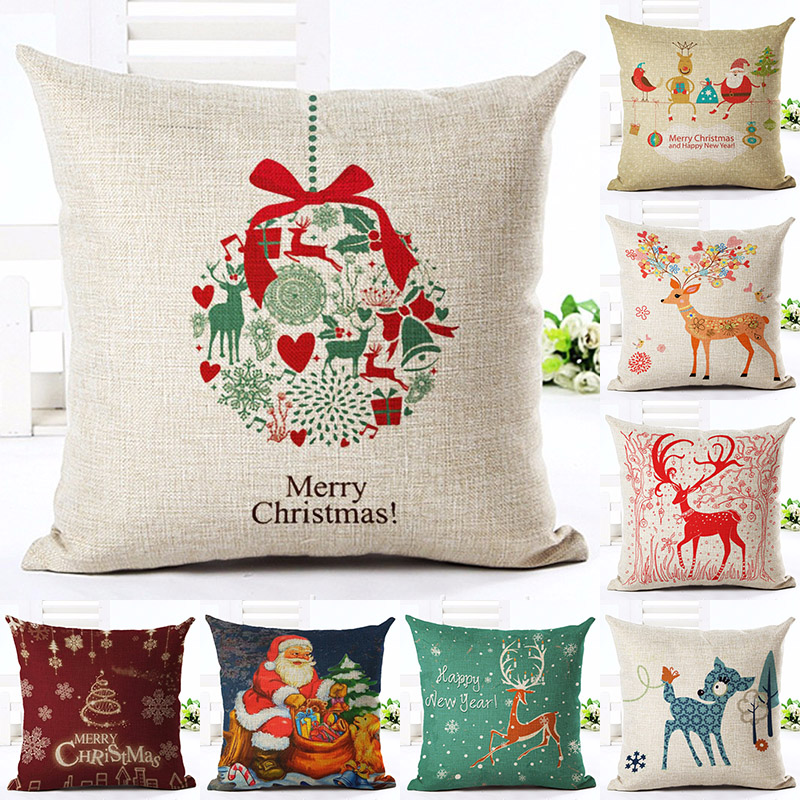 Christmas Deer Printed Cotton Linen Pillowcase Decorative Pillows Cushion Use For Home Sofa Car Office Almofadas Cojines