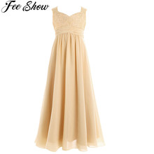 4 14Years old Kid Girls Flower Chiffon Lace Dress for Party and Wedding Bridesmaid One shoulder Dress Prom Formal Maxi Dress