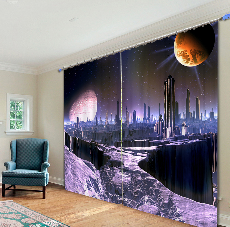 Kinds Of Starry Sky Printing Blackout Curtains Living Room or hotel Drapes Cortians Sunshade Window Curtain